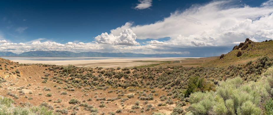 Stormy skies over the Great Salt Lake as seen from Antelope Island.