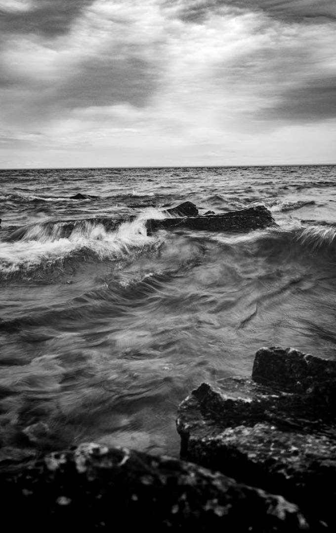 Another one from Bruce peninsula tried capturing the essence of the storm rolling in by the rocky shoreline and the tides were rolling in with winds picking up. . Of course what better way to capture the mood than in black and white. .