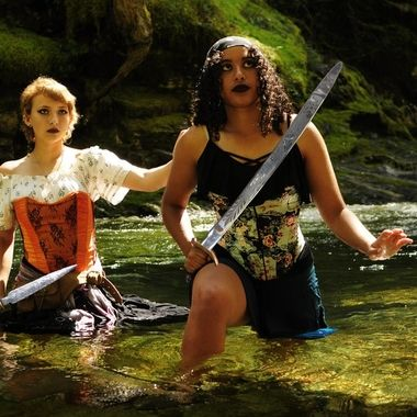 Ani and Scarlet in search of the snake that lives at the waterfall