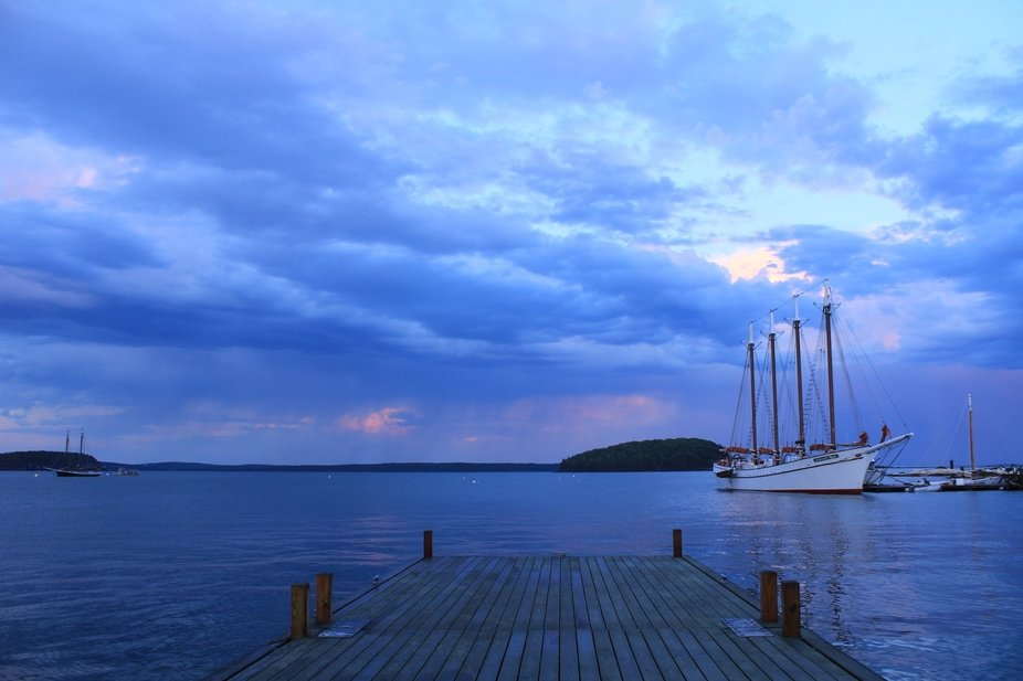Sunset in bar harbor Maine after a rain storm.