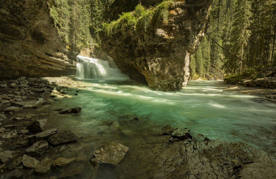 Johnston Canyon Falls in Banff National Park. This place is magical.