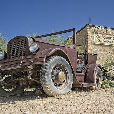 "An old truck that barely made it to Terlingua, Texas...possibly for the ""Chili Cook-off"""