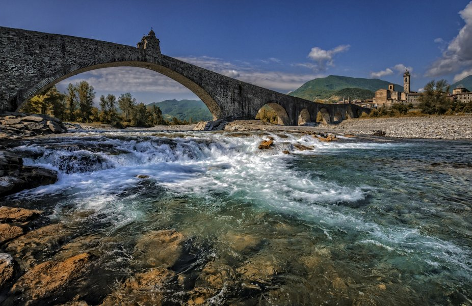 The Ponte Gobbo is an ancient bridge  located in a small town called Bobbio, Italy.