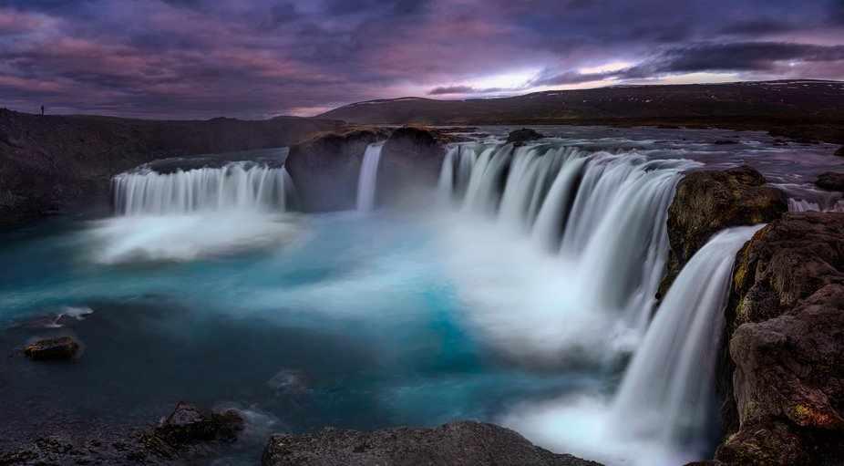 Godafoss (Icelandic: Goðafoss) The Waterfall of the Gods    Crop of a Panoramic Photo composed o...
