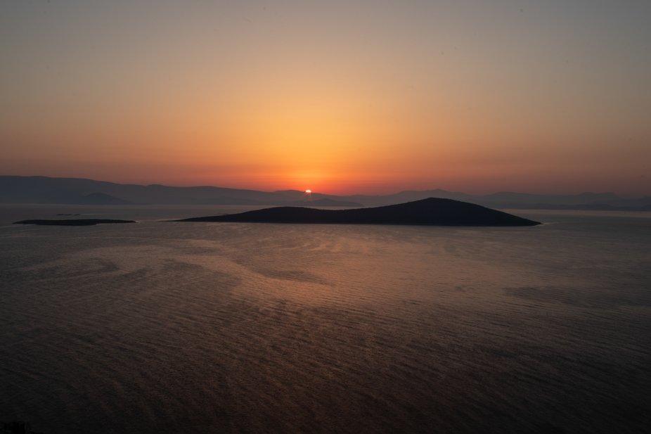 Sunrise seen from Gündoğan near Bodrum, Turkey.