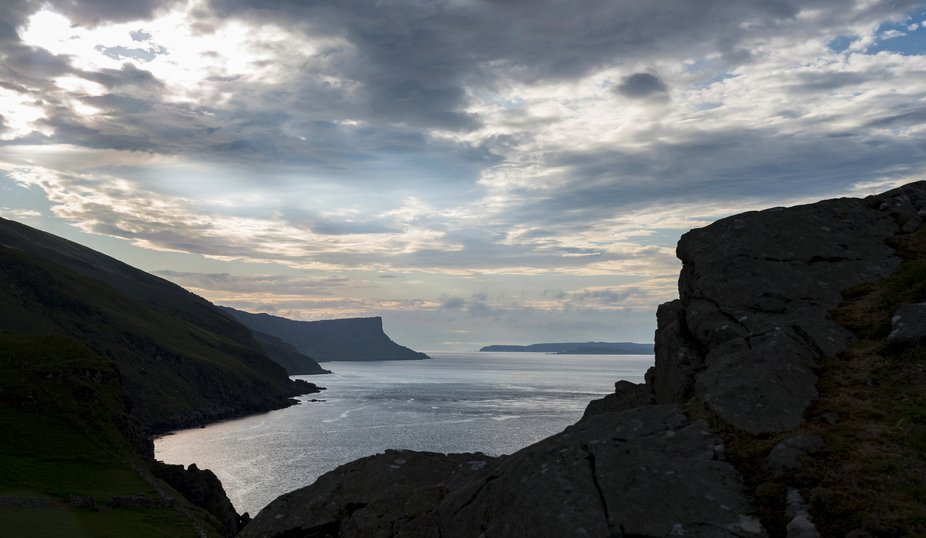 View of Fairhead from the Torr Head rock in the last summer evening light.