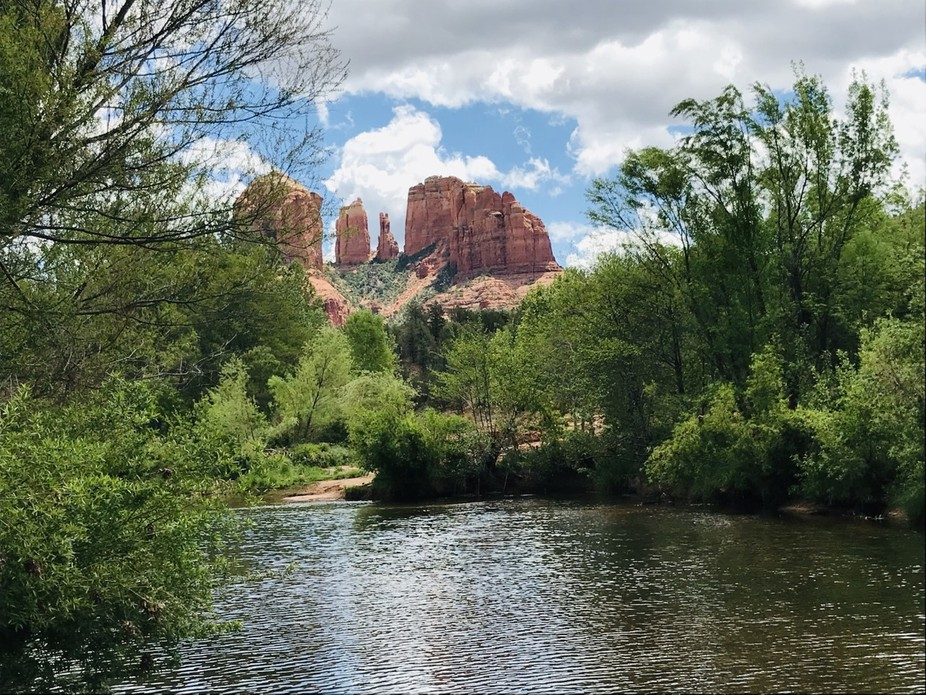 On a cloudy day, Cathedral Rocks, when viewed from Red Rock Crossing.
