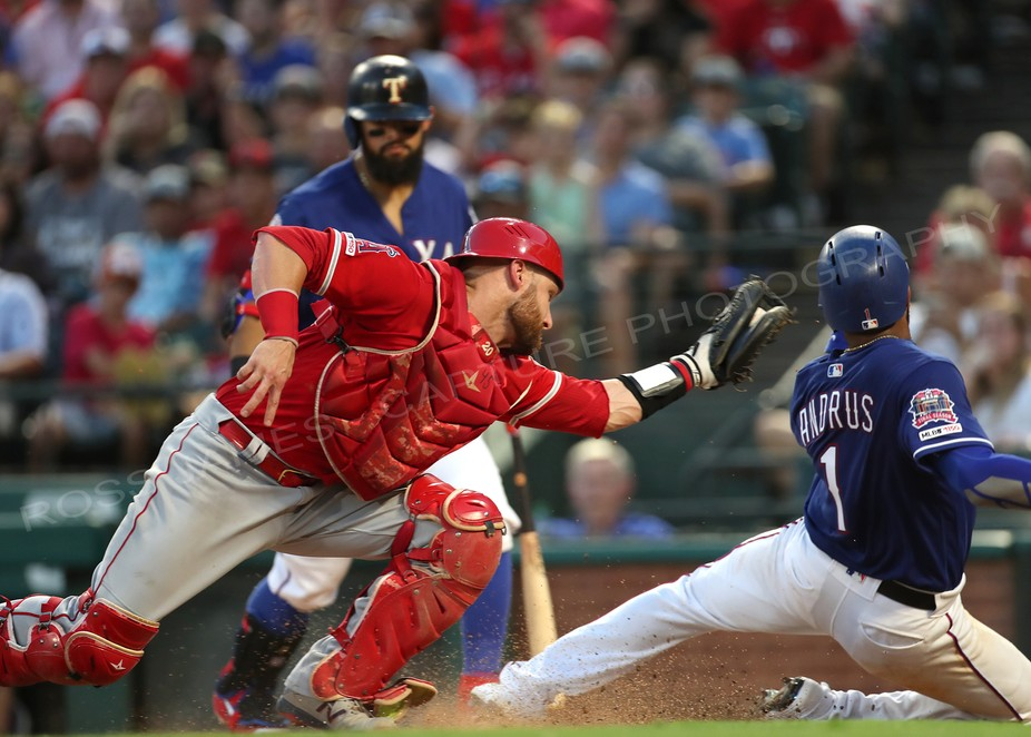 Action from the Texas Rangers and LA Angels baseball game on July 2, 2019
