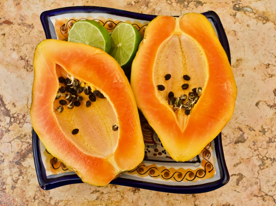 My first papaya from my tree that I rescued  before the birds devoured it.  Colorful and deliciou...