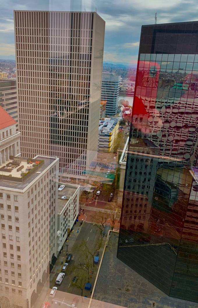 From the 32nd Floor: Downtown ~ Through the Glass