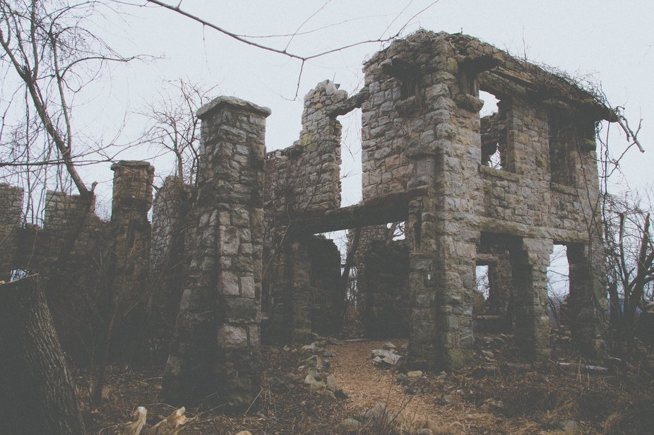 Abandoned ruins along a hiking trail in Ramapo Mountain State Forest.