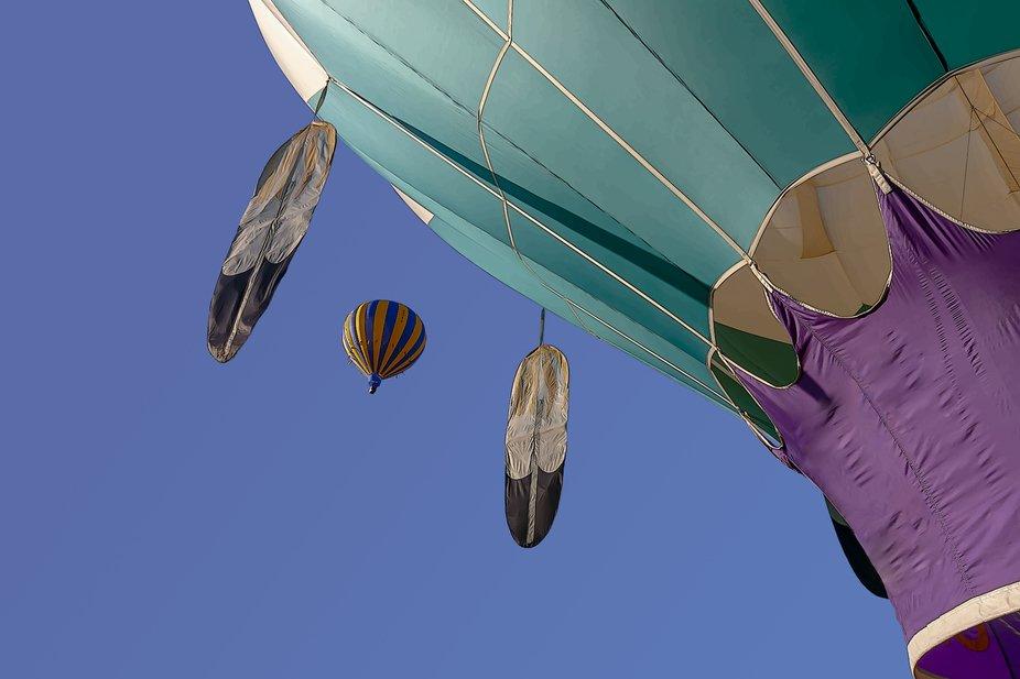 Hot air and a feather balloon in Tiger Park  at the hot air balloon fair.