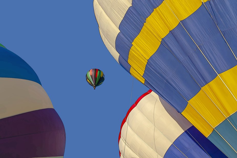 Colourful hot air balloons taking to the blue sky at the fair.