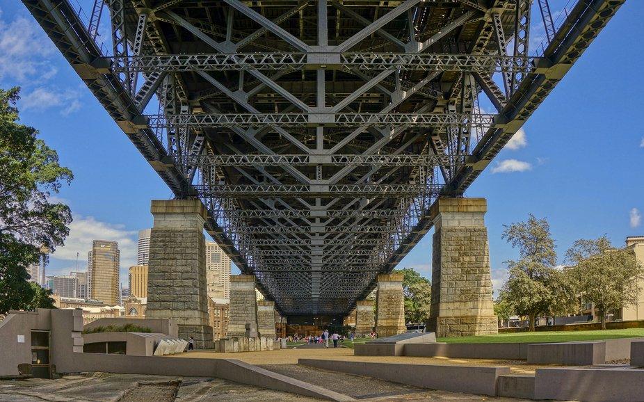 Dawes Point Sydney Australia - beneath the Sydney Harbour Bridge.
