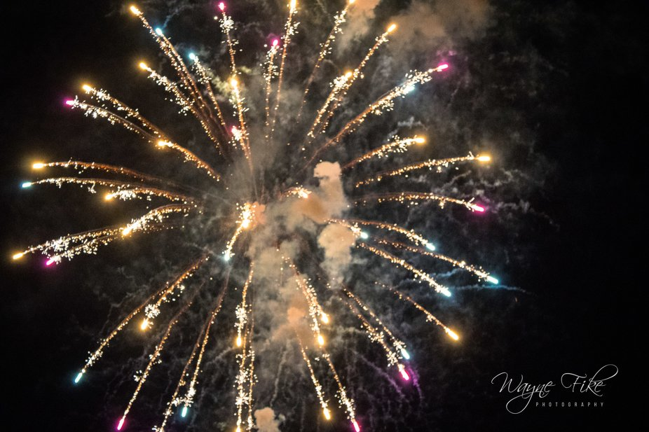 4th of July in Palm Desert, Ca Civic Center Fireworks show.