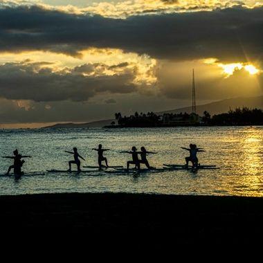 Yoga at Magic Beach, Honolulu, HI