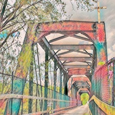 Here's a bridge with a bright colored edit, it's made for a train, but the city this is in made it into a walk path.