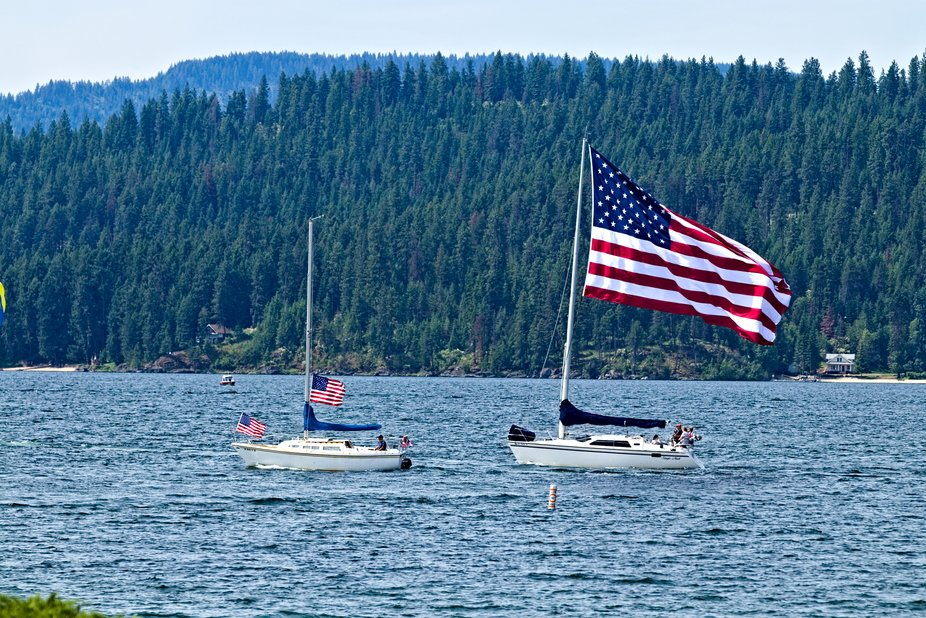 A bit of Independence Day patriotism on Lake Coeur d'Alene in Coeur d'Alene, Id...