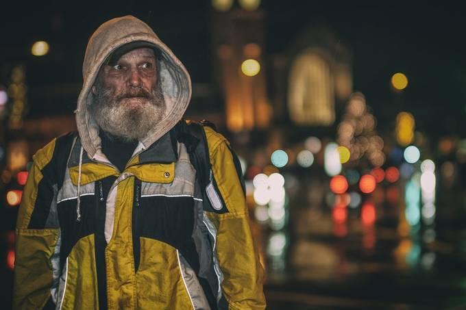 Rain in the city, cold November days - street life