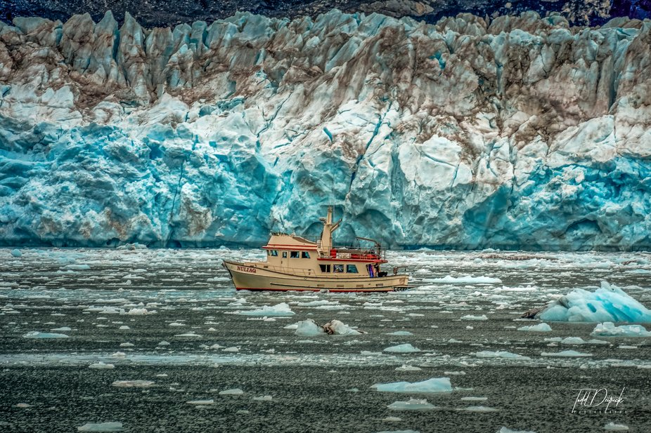 Boat Against Columbia Glacier, AK