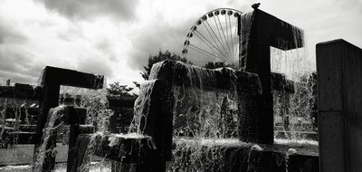 Water fall and wheel