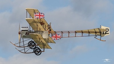 The splendid 1910 Avro Triplane from the Shuttleworth Collection takes to the sky above Old Warden at Shuttleworth Military Airshow 7-7-19