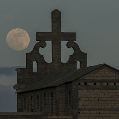 Full moon and church