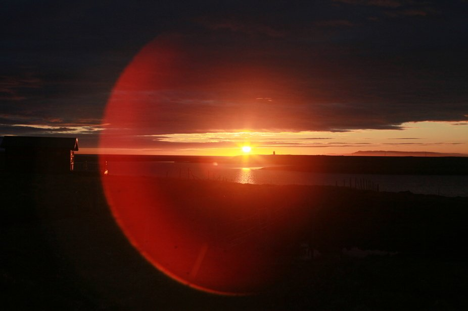 A perfect lens flare in this Icelandic sunset