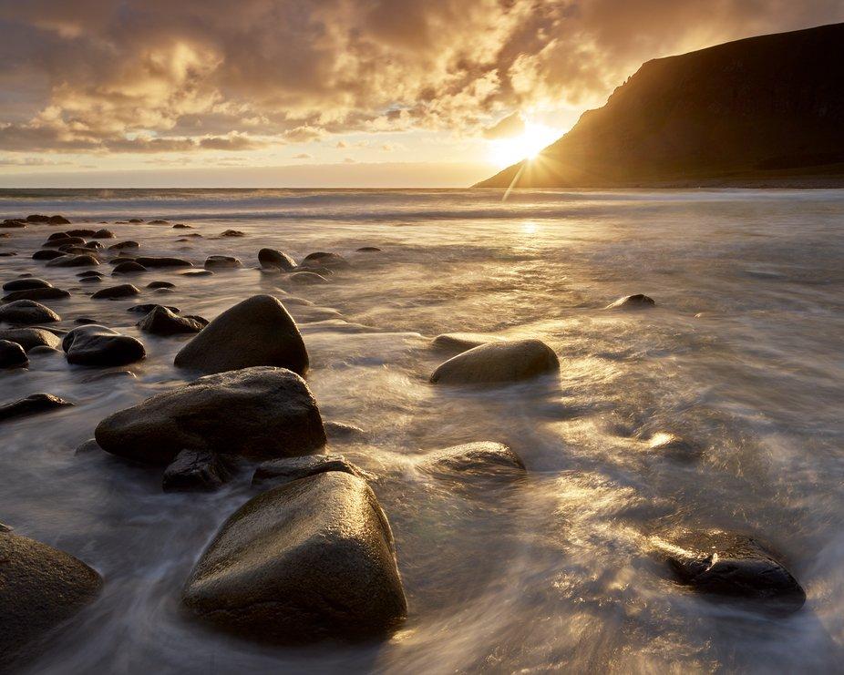 Sunset at Unstad Beach