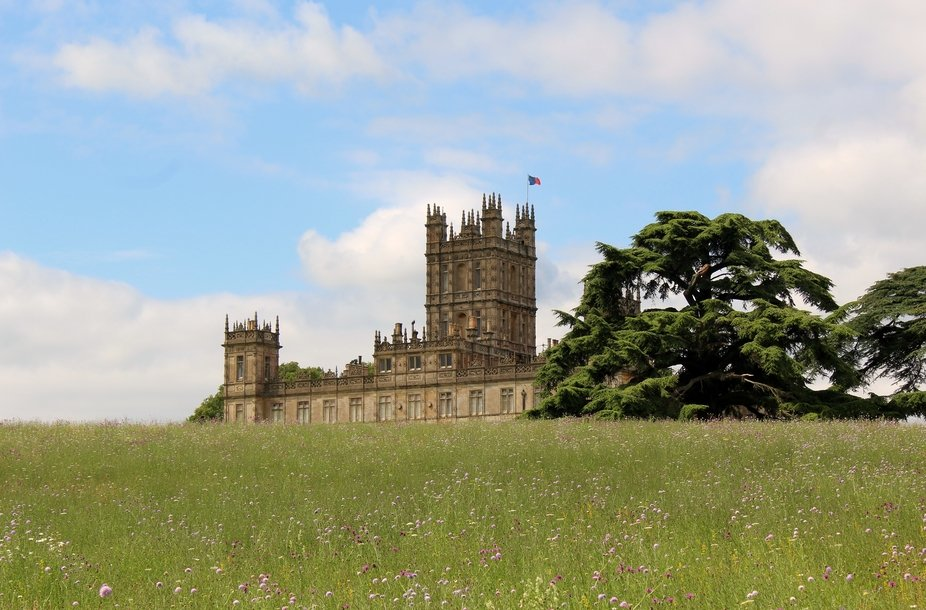 The upper floors at the rear of Highclere Castle, better known as Downton Abbey from the clourful...