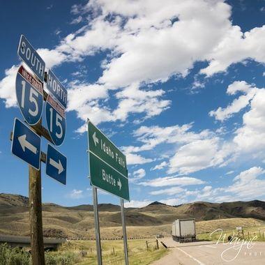 Signage for I-15 at Grasshopper Creek, MT.