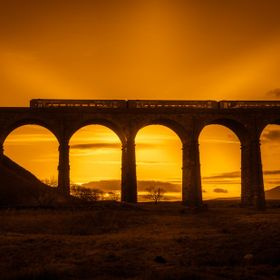 TRAIN ON RIBBLEDALE VIADUCT, North Yorkshire