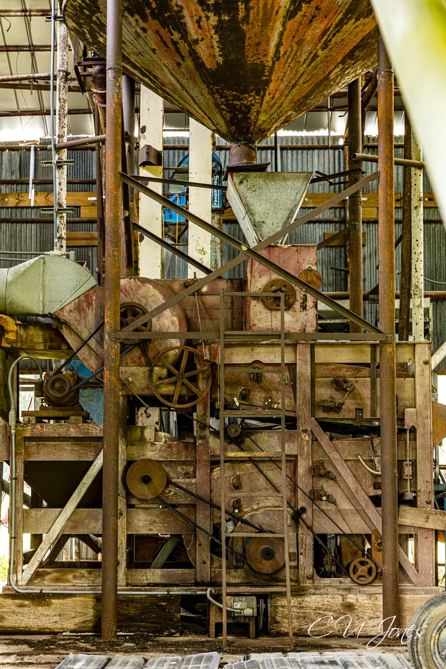 This is the view inside an old mill. I believe it is a cotton gin