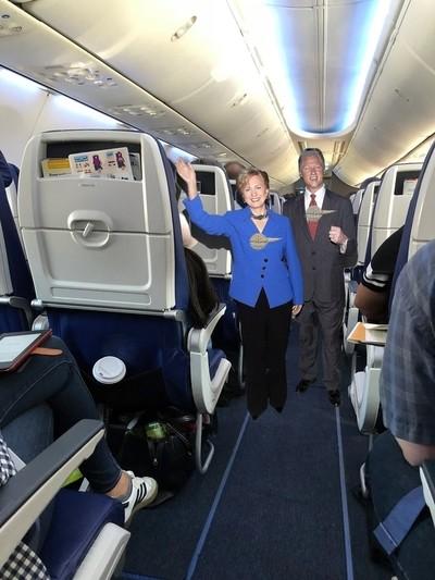 Hi, we'll be your flight attendants on this flight!