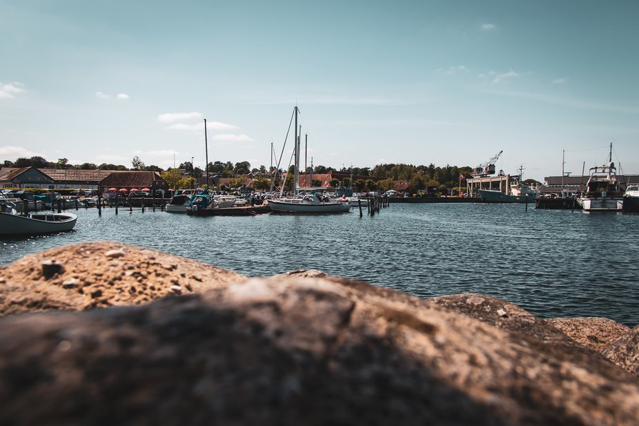Wide view of Mariager harbor in Denmark