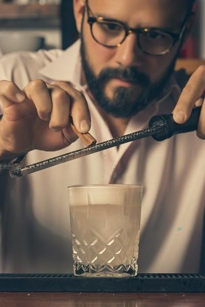 Bartender in focus