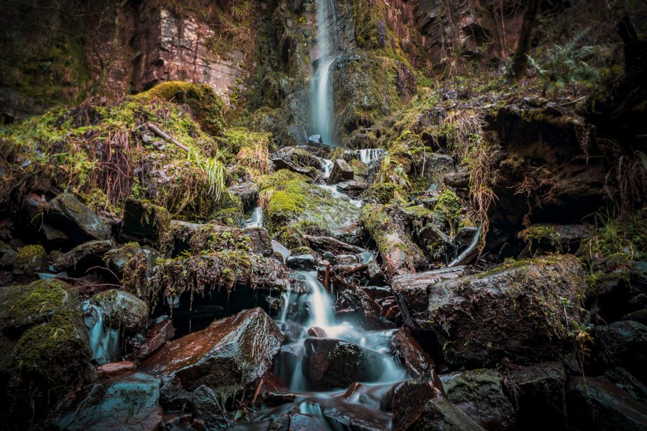 A drier afternoon by the Melincourt waterfall in South Wales, UK