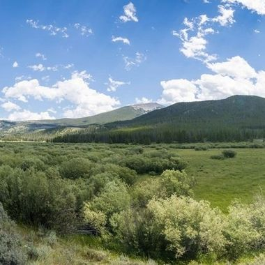 Panorama of 9 stitched together wide angle photos at the Lacy Creek area of Wise River, Montana