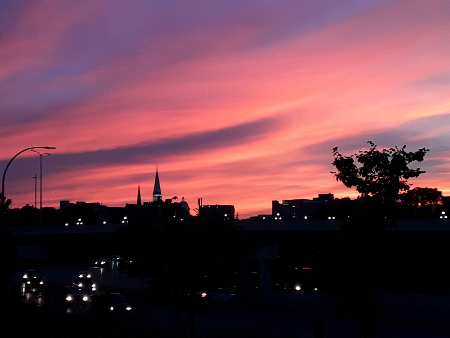 I went to a St Paul Saints game and couldn't resist this beautiful sunset. We were on the to...