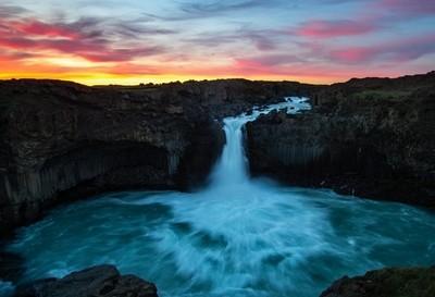 Midsummer Sunset Waterfall