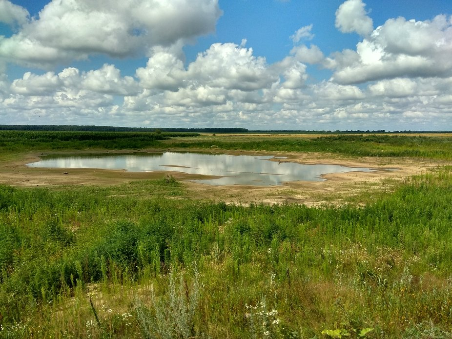 In the photo a small lake, which is located on the field, floating across the sky, clouds look in...