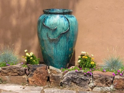 Giant pot and flowers