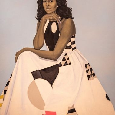 Portrait of Michelle Obama shown at the National Portrait Gallery