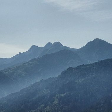 Hazy morning mountains