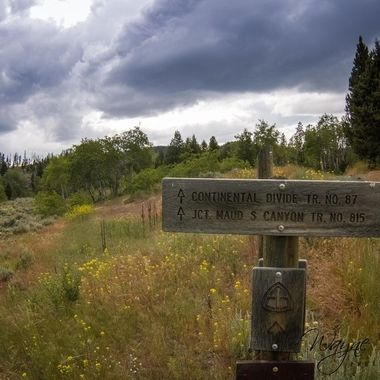 The Continental Divide Track. An old sign for the railroad tracks right next to the sign.