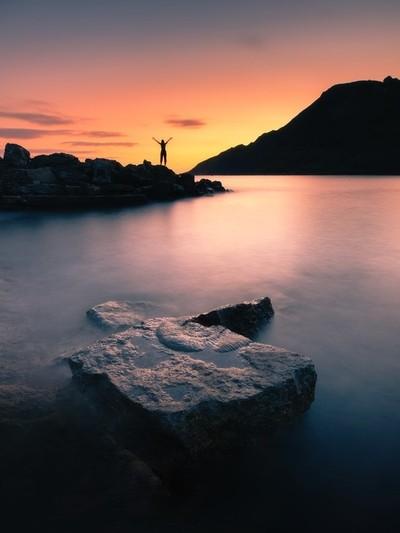The sun settibg on the jurassic coast