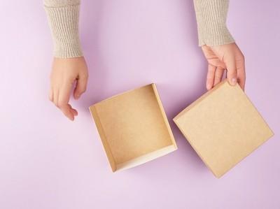 hand and box