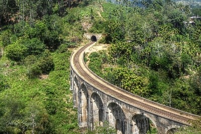 Railway track with tunnel-Thailand