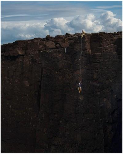 Eshaness cliff climbing Shetland