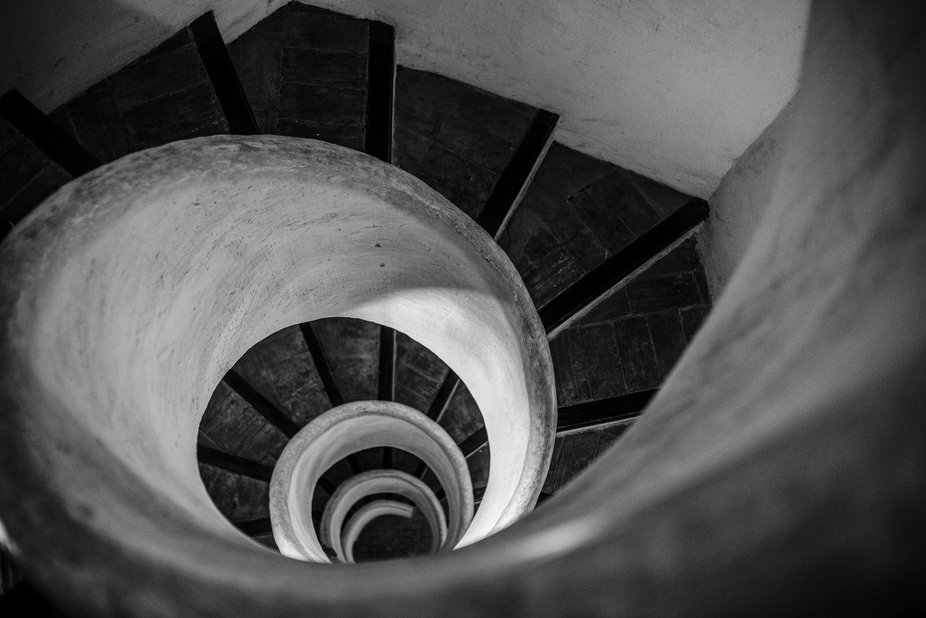 Staircase in an old church tower